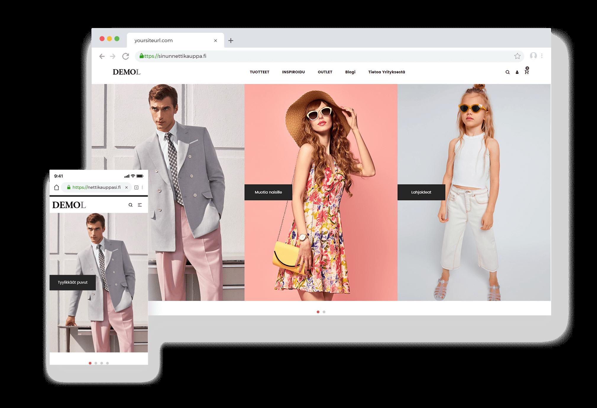 Muotivaatteiden nettikauppa selaimessa